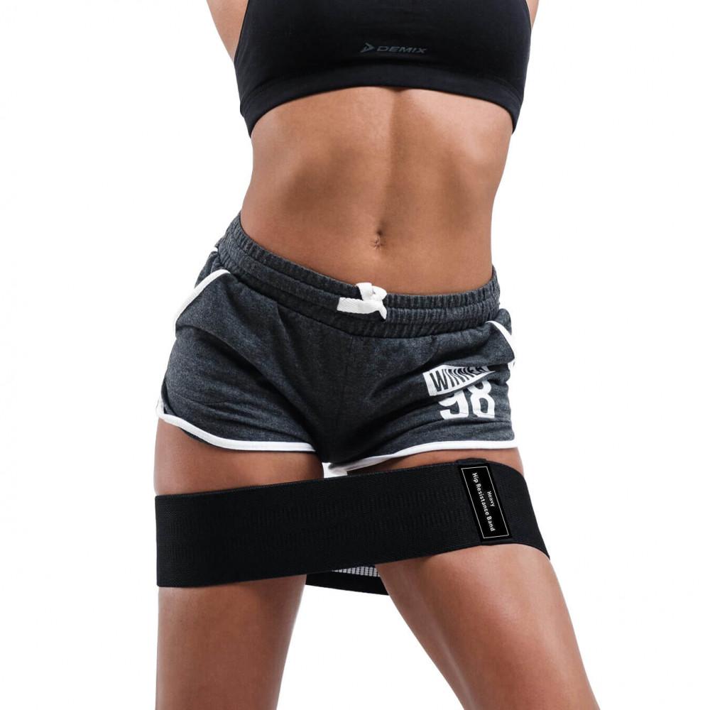 Набор из 3-х тканевых фитнес резинок Zakerda Hip Resistance Band (Black)