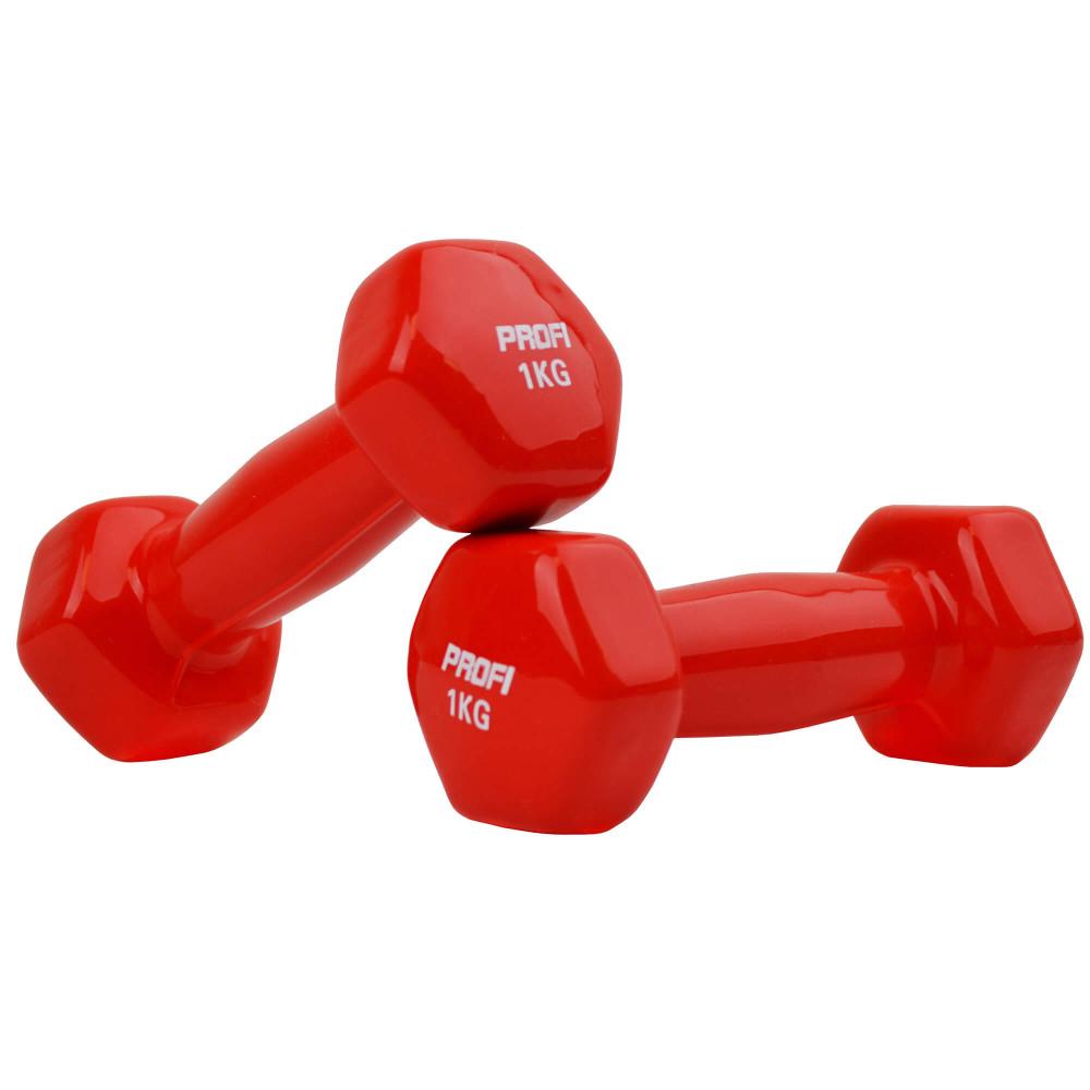 Набір вінілових гантелей U-Power Profi 2х1 кг (Red)