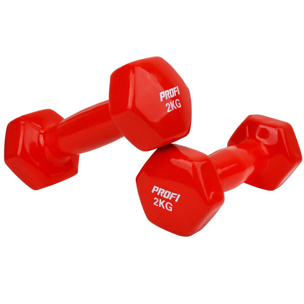 Набір вінілових гантелей U-Power Profi 2х2 кг (Red)