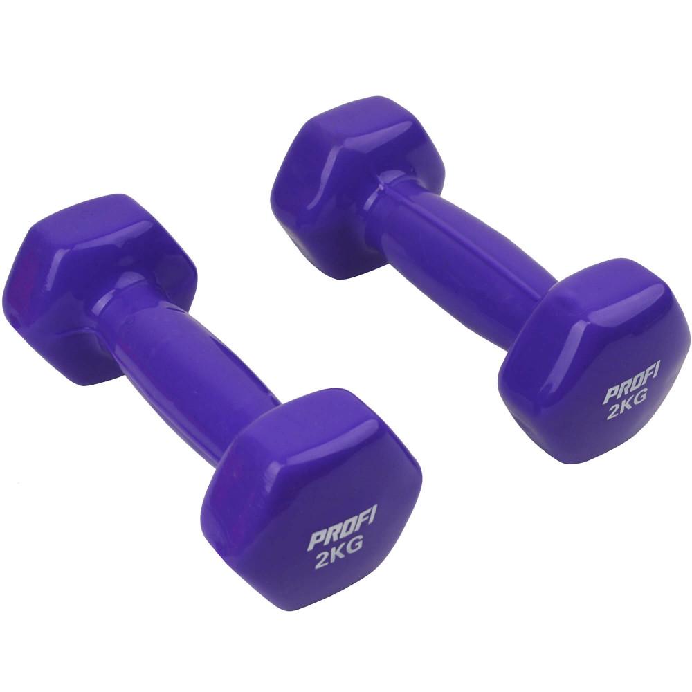 Набор виниловых гантелей U-Power Profi 2х2 кг (Violet)