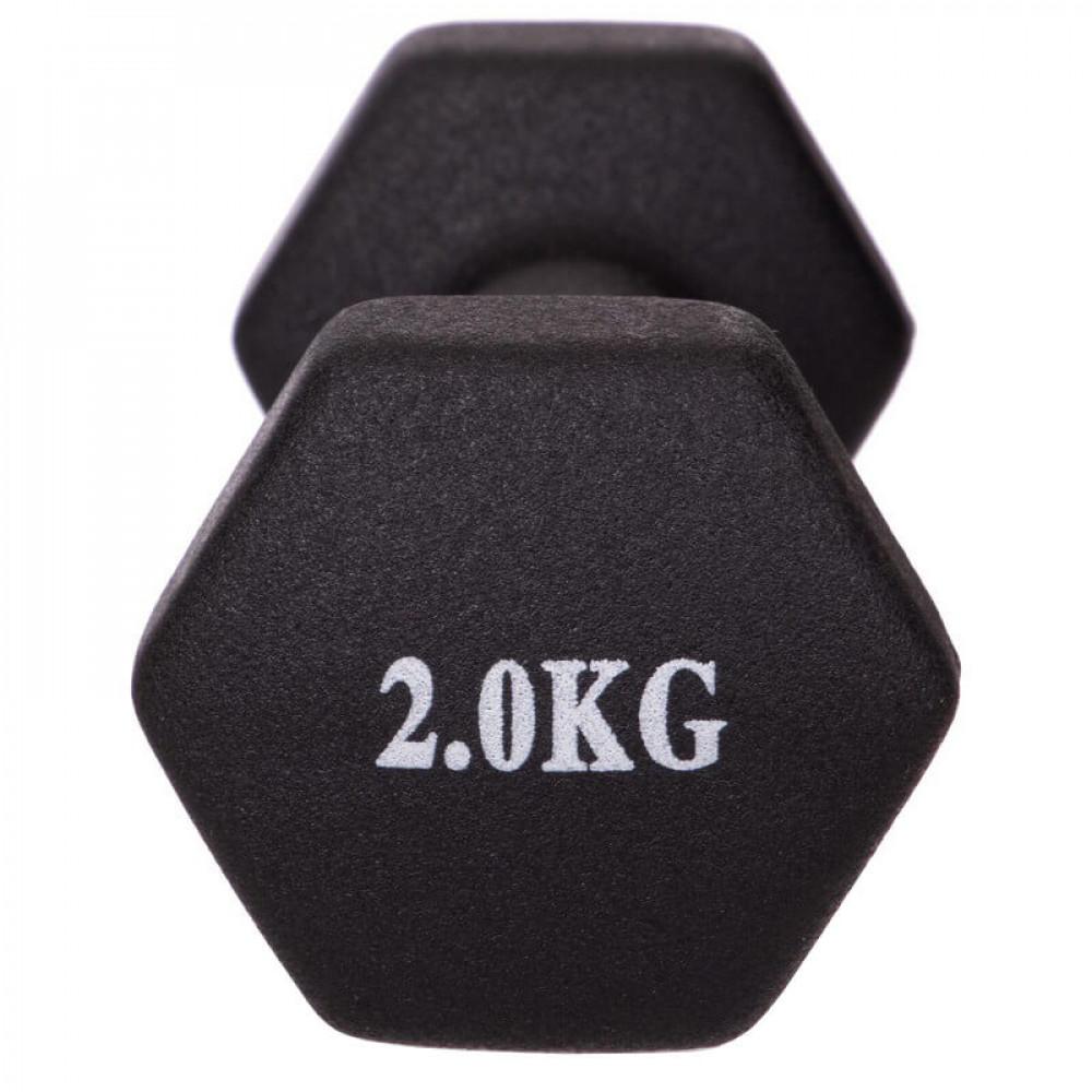Неопреновая гантель U-Power Fitness Mad 1х2 кг