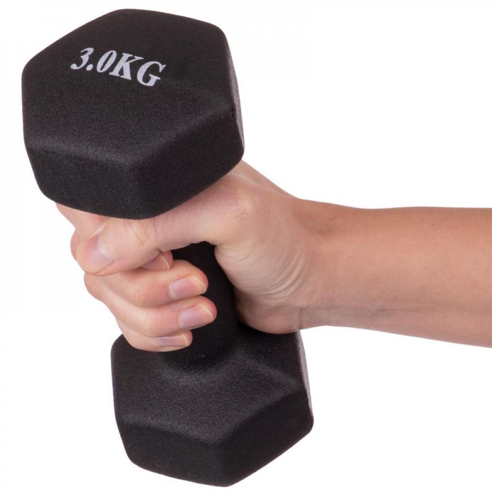 Неопреновая гантель U-Power Fitness Mad 1х3 кг