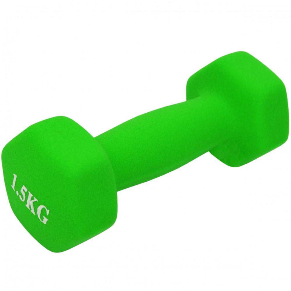 Неопреновая гантель U-Power Fitness Mad 1х1.5 кг (Light Green)