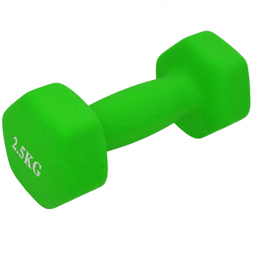 Неопренова гантель U-Power Fitness Mad 1х2.5 кг (Light Green)