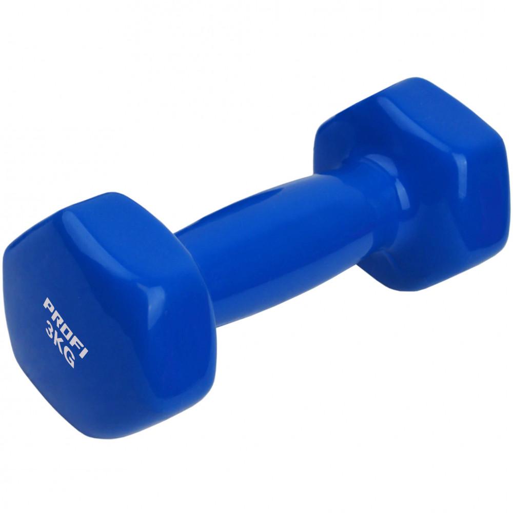 Виниловая гантель U-Power Profi 1х3 кг (Blue)