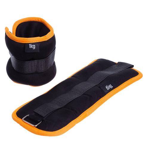 Обважнювачі для ніг і рук U-Power 2 х 1 кг (Black Orange)