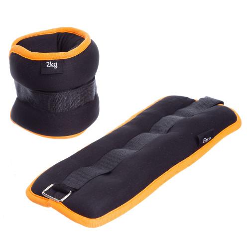 Обважнювачі для ніг і рук U-Power 2 х 2 кг (Black Orange)