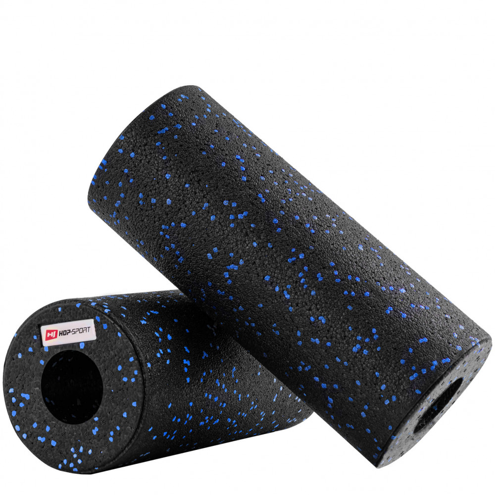 Роллер масажер гладкий EPP 33 см Hop-Sport (Black-Blue)